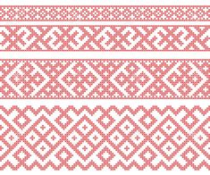Illustration of Seamless Russian folk patterns, cross-stitched embroidery imitation. Patterns consist of ancient Slavic amulets. Russian Embroidery, Hardanger Embroidery, Folk Embroidery, Types Of Embroidery, Cross Stitch Embroidery, Cross Stitch Patterns, Machine Embroidery, Embroidery Designs, Hand Embroidery Patterns