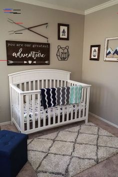 Adventure Nursery Reveal We've finished our nursery! We love the adventure theme we chose along with the navy, mint, and white color scheme. Get inspiration for your nursery here!