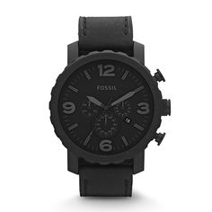 Amazon.com: Fossil Men's JR1354 Nate Stainless Steel Chronograph Watch with Black Leather Band: fossil: Clothing