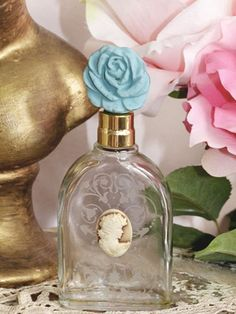 Small Victorian Perfume Bottle with Blue Top