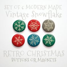 Christmas Snowflake Christmas Buttons 1 inch or by johnwgolden