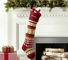 Red Fair Isle Stocking #pbkids   * Want these for all of us!* Mom, Dad, & Emmie!