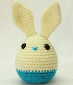 Items similar to Easter Egg Bunny in Cream and Firozi Blue on Etsy Easter Crochet, Crochet Bunny, Cute Crochet, Crochet Patterns Amigurumi, Crochet Toys, Kawaii Crochet, Bunny Toys, Stuffed Toys Patterns, Easter Crafts