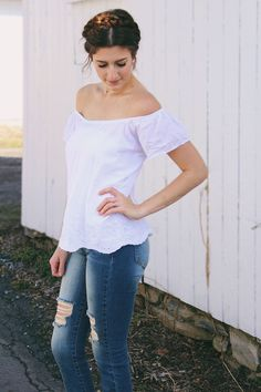 Simple Off-the-Shoulder Top with Jeans