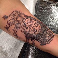Woodcut buffalo #matthouston #gastowntattoo