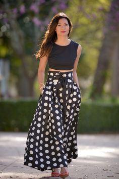 Ashlegryre Pleated High Waisted Polka Dot Skirt, Nordstrom Rack Crop Top, Red Lips and Prabal Gurung for Target Heels