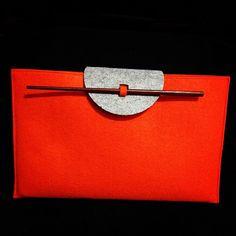"Grey & Orange Felt Case with Ancient Chopstick for MacBook Air 11"". $24.95"