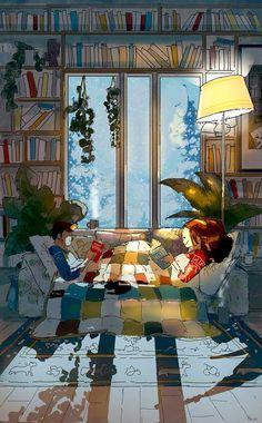 Toasty Comfy By Pascal Campion. Pascal Campion, Cute Couple Art, Cute Illustration, Aesthetic Art, Belle Photo, Cartoon Art, Love Art, Illustrators, Fantasy Art