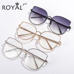 Royal girl new diseñador de la marca mujeres gafas marcos vintage retro de gran tamaño de metal marcos ópticos gafas de lentes claros ss716