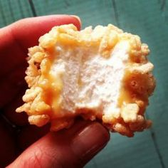 Marshmallow Caramel Rice Krispies Puffs ingredients 1 14-oz. package Kraft caramels 1 14-oz. can sweetened condensed milk 4 T. butter 50 to 60 large marshmallows 8 c. Rice Krispies cereal prep: Melt caramels,sweet condensed milk n butter in a double boiler.Carefully   stir regularly.Individually dip marshmallows into d caramel mixture, let excess caramel drip off. Then roll in Rice Krispies. Place on wax paper to set.These keep very well in the freezer.  They are fun to eat frozen or thawe