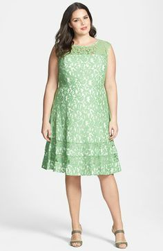 Adrianna Papell Cutaway Sleeve Lace Shift Dress (Plus Size) available at #Nordstrom