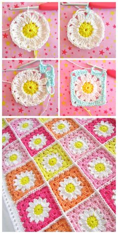 You are going to love this collection of Crochet Daisy Granny Square Pattern Ide. You are going to love this collection of Crochet Daisy Granny Square Pattern Ideas and we have a yo Crochet Flower Squares, Crochet Daisy, Granny Square Crochet Pattern, Crochet Flower Patterns, Afghan Crochet Patterns, Crochet Motif, Crochet Flowers, Granny Square Tutorial, Crochet Square Blanket