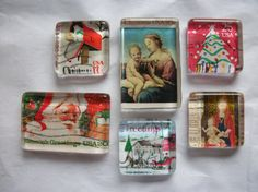 6 Vintage Christmas US Postage Stamp Glass Magnets by BadCatCraft