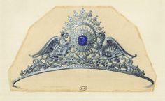 Esquisses et Croquis - Diadème Chimères - Alphonse Fouquet - vers 1878 - Gouache sur Papier Calque.
