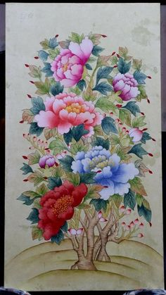 Chinese Painting, Asian Art, Krishna, Peony, Flora, Butterfly, Drawings, Nature, Bell Work