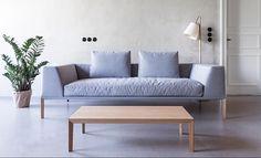 NOTI sofa   SOSA collection   design by #PiotrKuchcinski #upholstered #2,5seater #loft #SoftSofa #HotelFurniture #LivingRoom #modern #elegant #grey #LongLegs