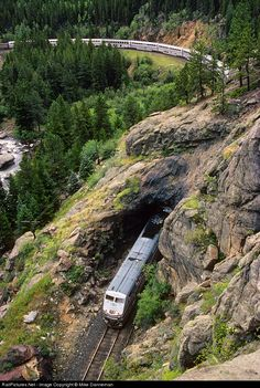 Amtrak No. 5, the California Zephyr, slices through short Tunnel 29 just east of Pinecliffe, Colorado, on August 28, 2000.