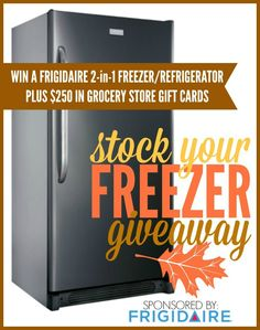 Frigidaire freezer + fridge in one and grocery giveaway via Kara's Party Ideas KarasPartyIdeas.com!