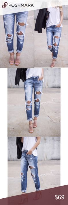 "🆕Tyler Distressed Denim Boyfriend Jeans This is a style and wash you will love and live in! The perfect medium wash with on trend distressing, relaxed fit and easily cuffed style. The frayed mid rise fit makes them chic with heels or sneakers. Pairs perfectly with heels for date night! Roll up or wear longer. Length: Inseam to hem length on size 1 measures 29"" with cuff unfolded True to size with stretch. Size up if you would like a looser fit. 73% Cotton 27% Rayon. A Mermaid's Epiphany…"