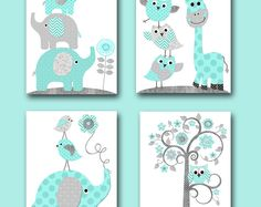 Neutrale kwekerij muur Decor Canvas Childrens Art Print Kids Art Kids Wall Art Giraffe muur Decor olifant Wall Decor set 4 grijs blauw /