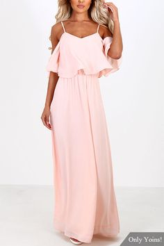 Pink Off-the-shoulder Frill Top Chiffon Maxi Dress