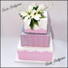 Bruidstaart magnolia zilver en pink