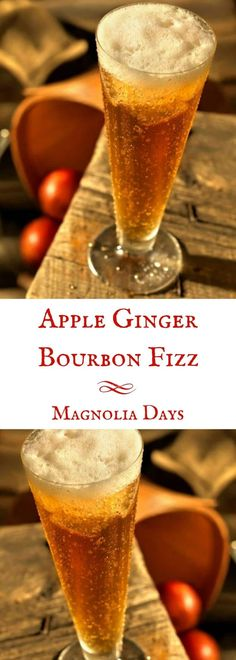 The classic fizz cocktail gets a Southern twist with bourbon, apple butter, and ginger beer instead of plain soda. Try this Apple Ginger Bourbon Fizz at your next shindig. Party Drinks, Cocktail Drinks, Fun Drinks, Yummy Drinks, Cocktail Recipes, Beverages, Manly Cocktails, Liqueur, Apple Butter