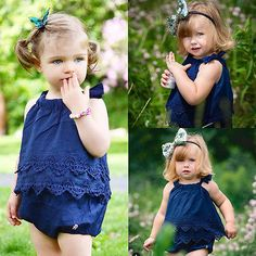 Baby toddler lace ruffle romper dress