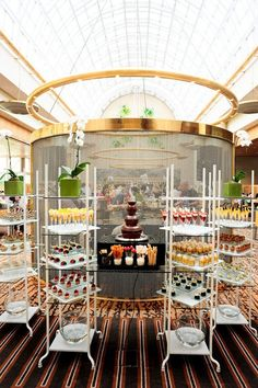 Candy Buffet Weddings, Events, Food Station Buffets and Tea Parties Display idea for your wedding dessert buffet - Greenhouse Restaurant Ritz-Carlton Millenia Singapore Wedding Food Bars, Wedding Buffet Food, Wedding Reception Food, Wedding Desserts, Wedding Catering, Catering Logo, Wedding Decorations, Buffet Set, Candy Buffet