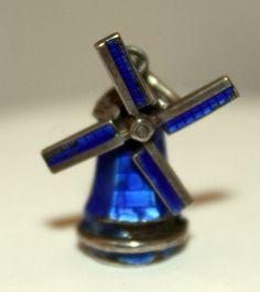 Vintage Holland Enamel Windmill Articulated Sterling Silver Bracelet Charm | eBay