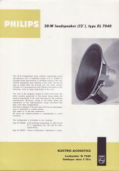 Vintage Philips EL-7040 Speaker