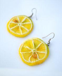 """Ręcznie wykonane kolczyki z modeliny """"Cytrynki""""  więcej info na priv:  joyfulworks4you@gmail.com"""