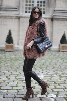 fur vest + leather pants +leather jacket + leopard boots