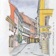 """673 Beğenme, 4 Yorum - Instagram'da Luk Van Loock (@lukvl): """"#Repost @frauklinkig ・・・ Sketch of the Krämerbrücke in Erfurt which I did in june and thought I…"""""""