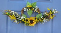 front door decorations for spring | Spring Front Door Floral Swag Wreath Summer Holiday Decoration ...