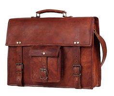 Handmadecraft 17 Inch Vintage Look Leather Laptop Messenger Briefcase Satchel