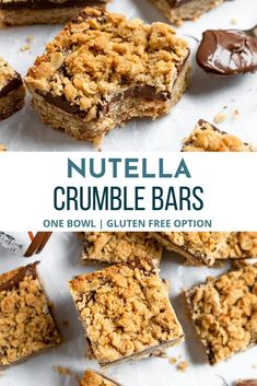 A thick and rich layer of Nutella between buttery rich oats makes these Nutella Crumble Bars the perfect treat for the party. You only need one bowl to whip these up! A simple recipe to bake up in no time! Gluten Free Desserts, Easy Desserts, Delicious Desserts, Dessert Recipes, Bar Recipes, Dessert Ideas, Nutella Bar, Valentine Desserts, Low Carb Cheesecake