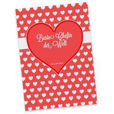 Postkarte Herz Geschenk Beste Chefin der Welt aus Karton 300 Gramm  weiß - Das Original von Mr. & Mrs. Panda.  Diese wunderschöne Postkarte aus edlem und hochwertigem 300 Gramm Papier wurde matt glänzend bedruckt und wirkt dadurch sehr edel. Natürlich ist sie auch als Geschenkkarte oder Einladungskarte problemlos zu verwenden. Jede unserer Postkarten wird von uns per hand entworfen, gefertigt, verpackt und verschickt.    Über unser Motiv Herz Geschenk  Das Motiv Herz Geschenk ist ein…