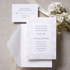 Damask Pearlized Border Wedding Invitation
