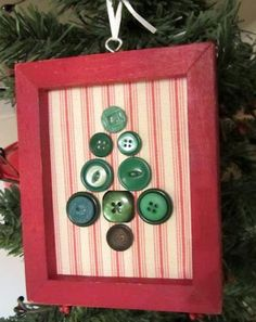 Everyone loves buttons! How about a Christmas tree ornaments frame?   ------------------  #repurposed #frame #diy #picture #frames #christmas #ornaments