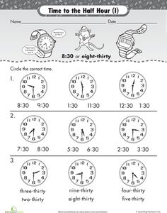 Worksheets: On the Half Hour: Telling Time with Malcolm Mouse
