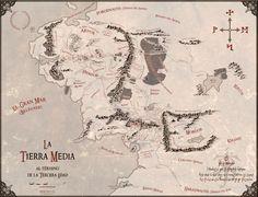 Mapa de la Tierra Media 'vintage' obra de Juan M. Villa