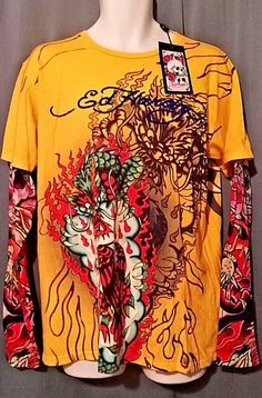 bbc213db2f ED Hardy Dragon, Eagle W/Twin Panthers Tattoo Sleeve L. Free Priority  Shipping