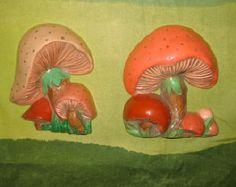 Vintage Mushrooms Wall Decor. 2 Ceramic Plaques.  Mod, pop, Mid century Kitsch, Eames Panton era.