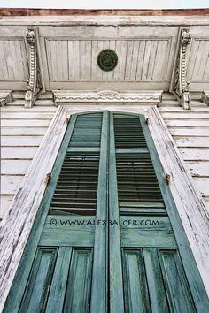 new orleans style doors   ... Door Shutters on White Shotgun Cottage, New Orleans - www.alexbalcer