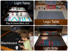 We converted our train table into a light table a while back. Since then we have added many different elements to the table. Boy Room, Kids Room, Diy Christmas Mugs, Train Table, Toddler Fun, Baby Room Decor, Kid Spaces, Diy Toys, Light Table