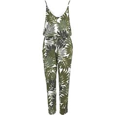 TOPSHOP Palm Leaf Print Strappy Jumpsuit (£42) ❤ liked on Polyvore