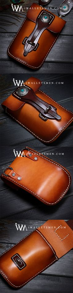 Leather Belt Pouch Mens Small Cases Waist Bag Hip Pack Belt Bag Fanny Pack Bumbag for Men Leather Belt Pouch, Leather Wallet Pattern, Small Leather Bag, Leather Tooling, Leather Gifts, Leather Bags Handmade, Mens Waist Bag, Leather Projects, Leather Accessories