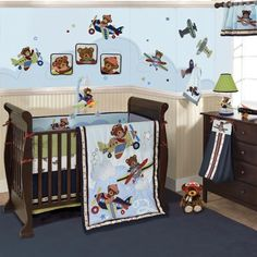 Airplane boy crib bedding. Planes with bears are flying into your nursery. Any baby boy will love this aviator theme baby bedding decor. Baby Aviator baby crib bedding by Lambs & Ivy. Available exclusively at Babies R Us and Babies R Us.com.