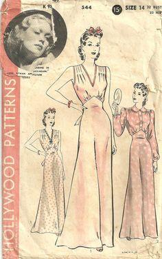 Vintage 40s Sewing Pattern Hollywood 544
